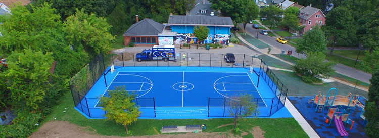 Backyard Basketball Court Installer Rochester Western Ny